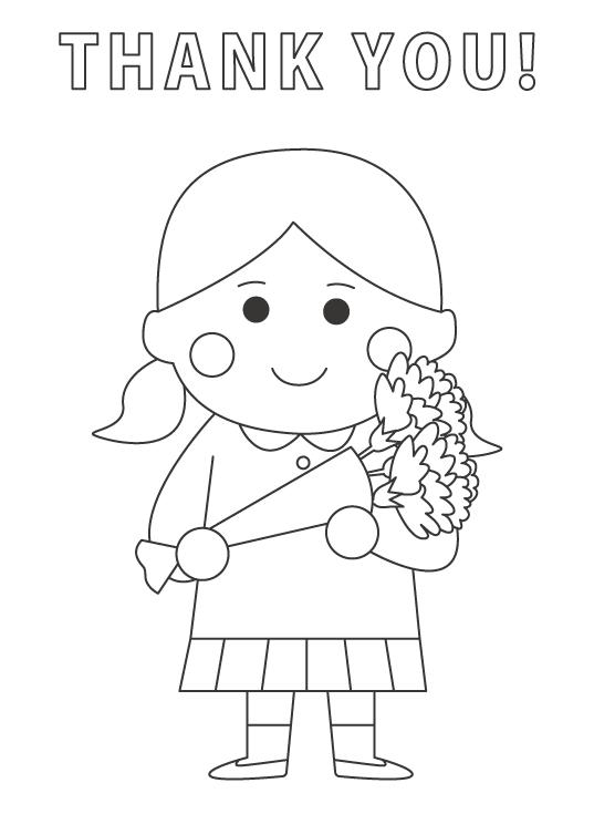 お母さんに花束をプレゼントする子どものぬりえ