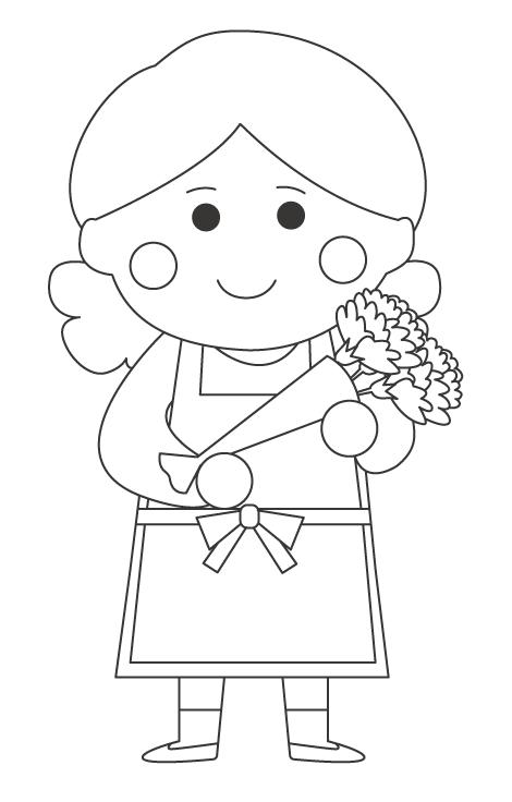 お母さんとカーネーションの花束のぬりえ