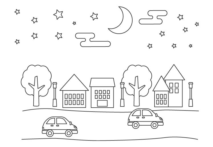 夜の街並みと車のぬりえ