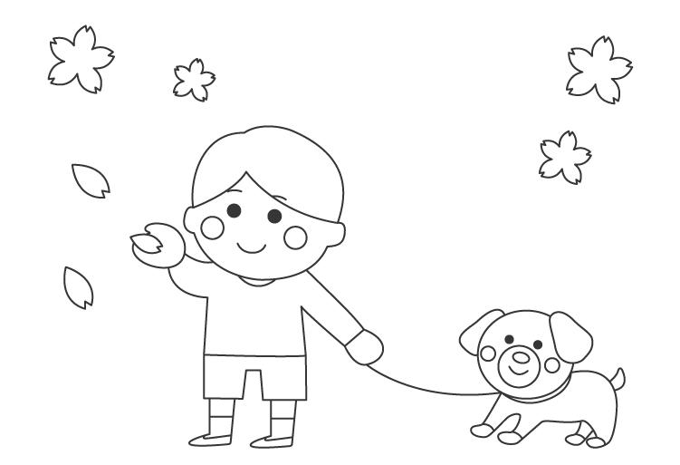犬の散歩とお花見のぬりえ