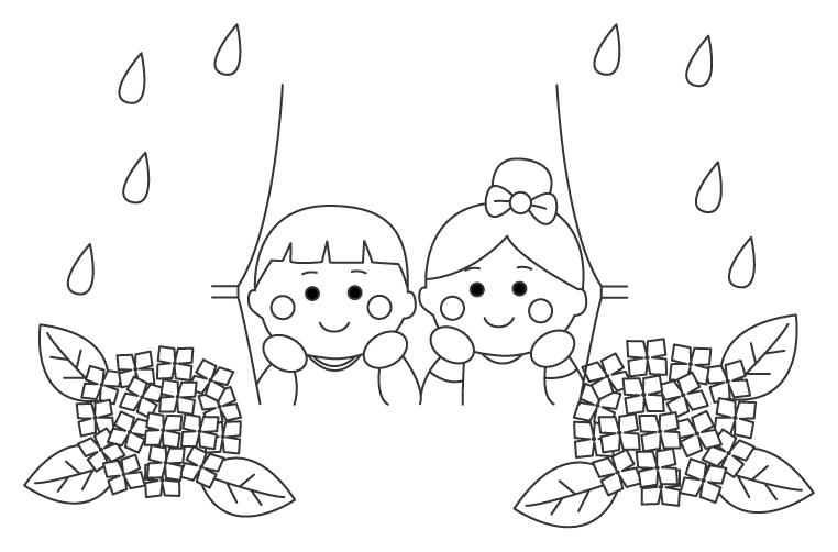 雨の日と紫陽花のぬりえ