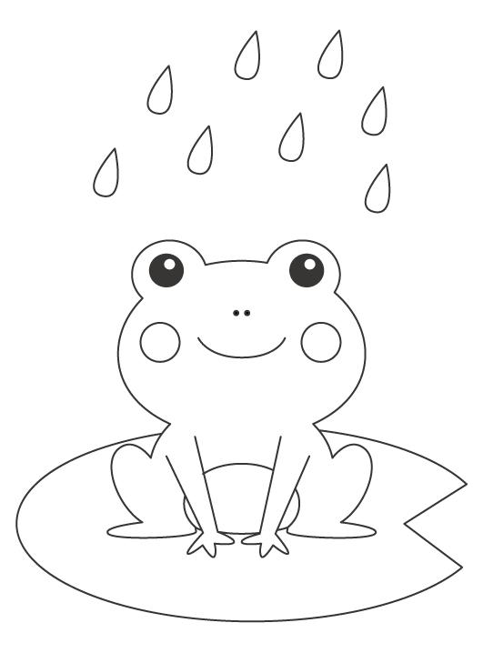 雨とカエルのぬりえ