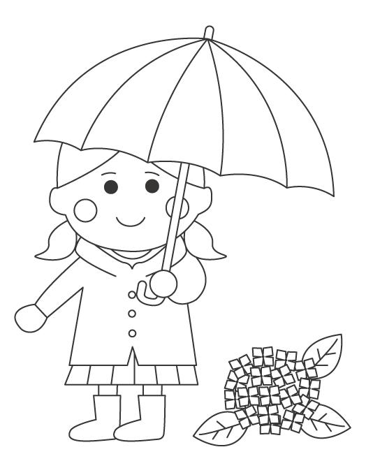 雨の日と女の子のぬりえ