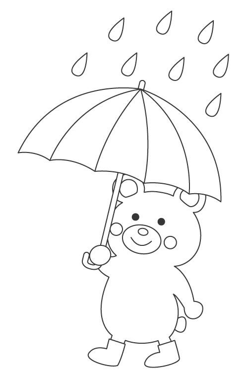 雨とかわいいクマのぬりえ