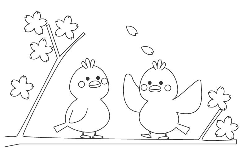 桜の木にとまる鳥のぬりえ