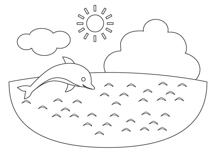 海とイルカのぬりえ