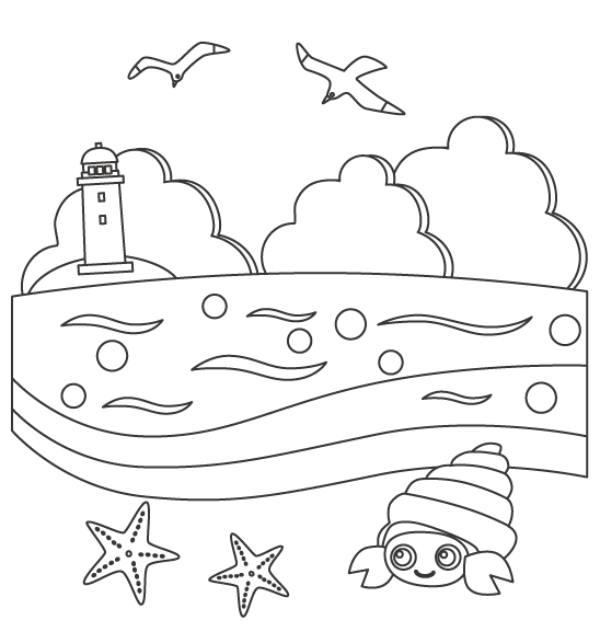 灯台がある海の風景のぬりえ