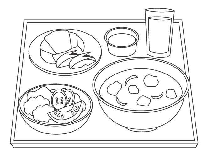 ランチ・スープのぬりえ