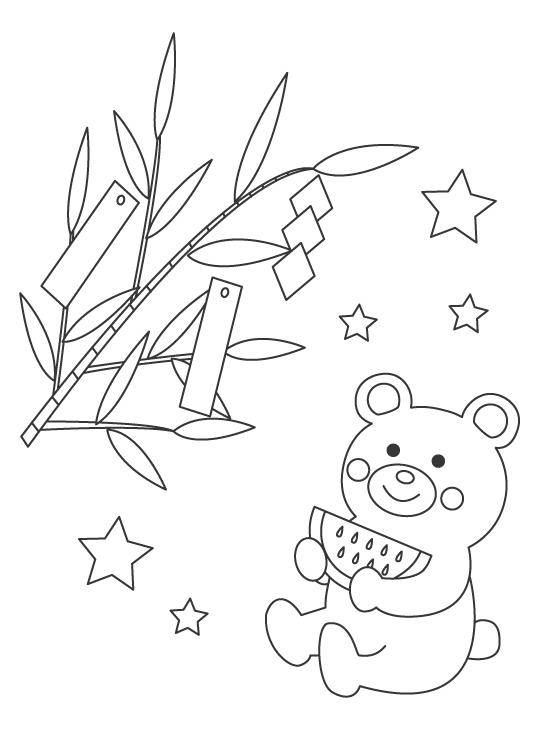 七夕の短冊とクマのぬりえ