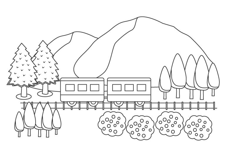山とローカル電車のぬりえ