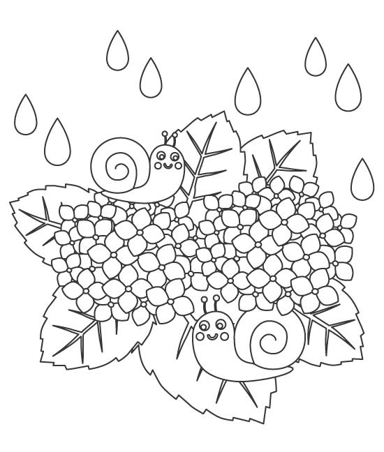 紫陽花(あじさい)とカタツムリのぬりえ