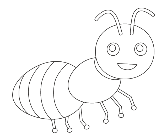 かわいいアリ(蟻)のぬりえ