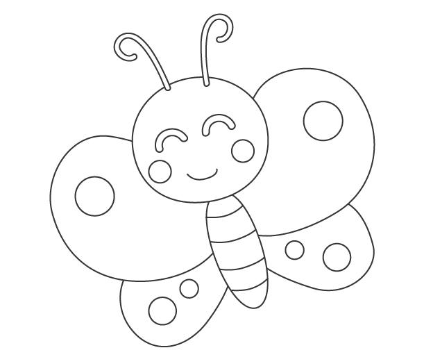 かわいい蝶々のぬりえ