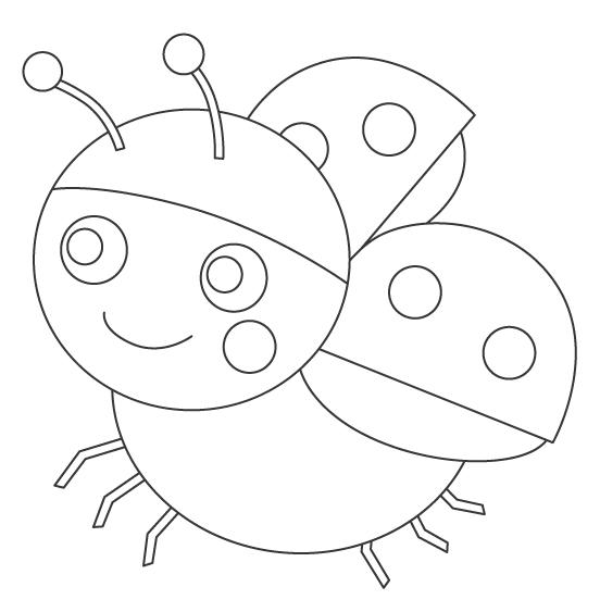 かわいいテントウムシ(天道虫)のぬりえ