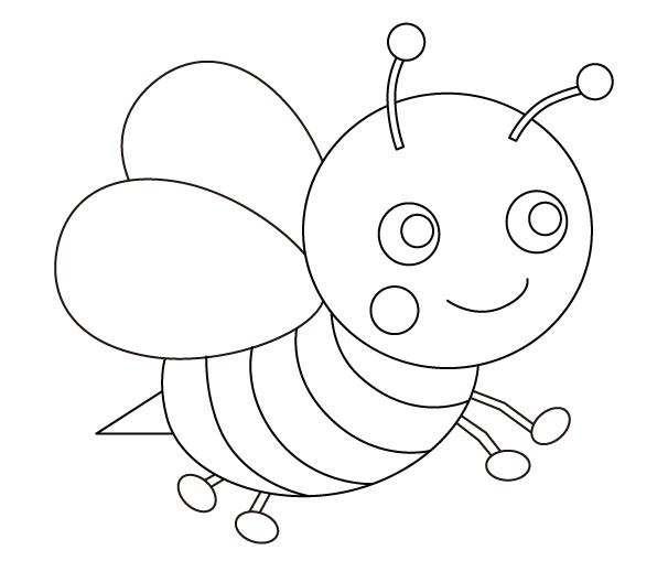 かわいいミツバチのぬりえ