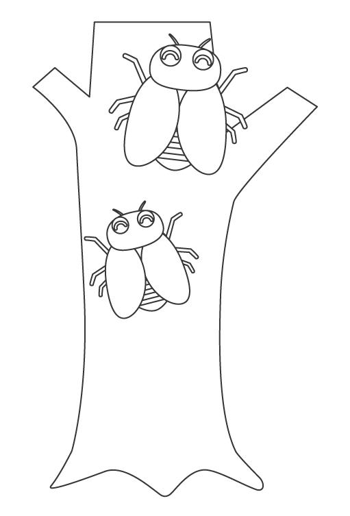 かわいいセミ(蝉)のぬりえ