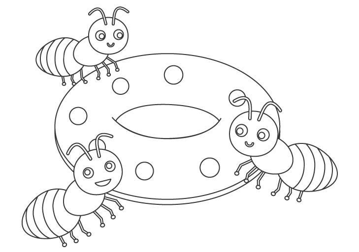 アリ(蟻)とドーナツのぬりえ