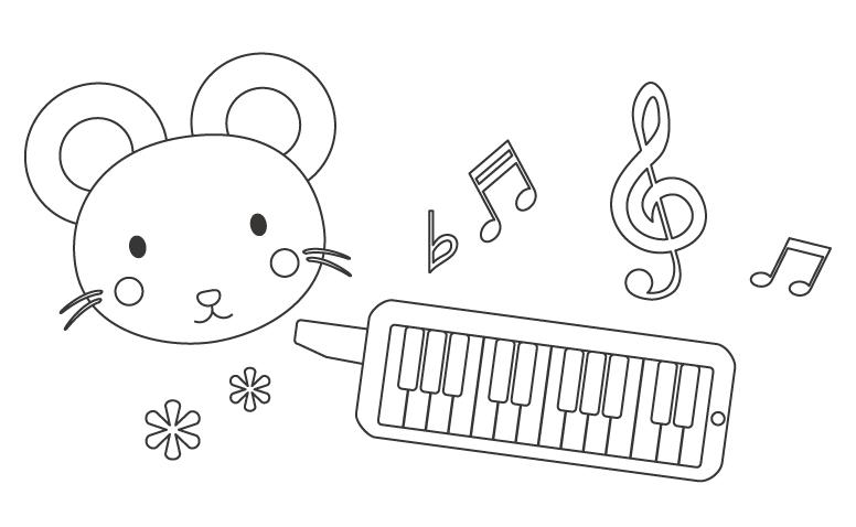 鍵盤ハーモニカとかわいいネズミのぬりえ