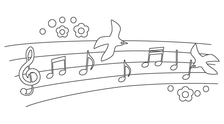 音符と鳥のぬりえ