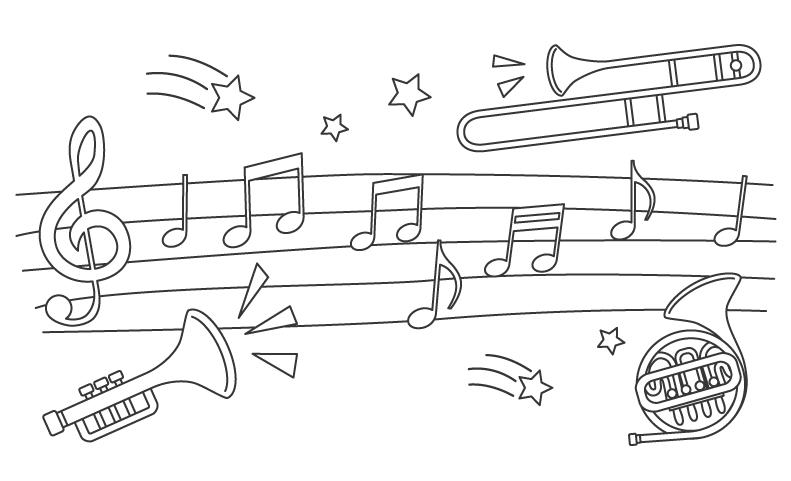 音符と楽器のぬりえ