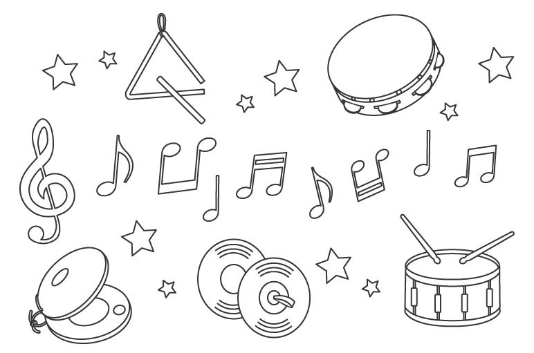 音符といろいろな楽器のぬりえ