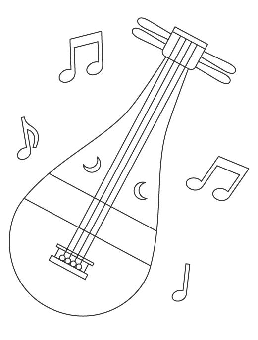 楽器の琵琶(びわ)のぬりえ