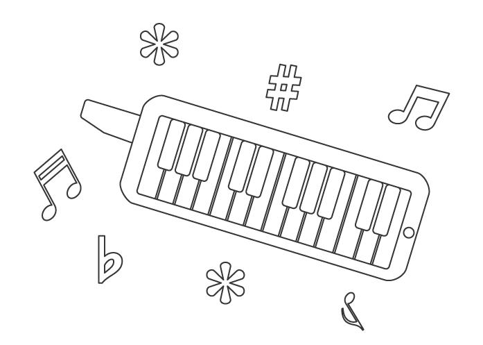 鍵盤ハーモニカのぬりえ