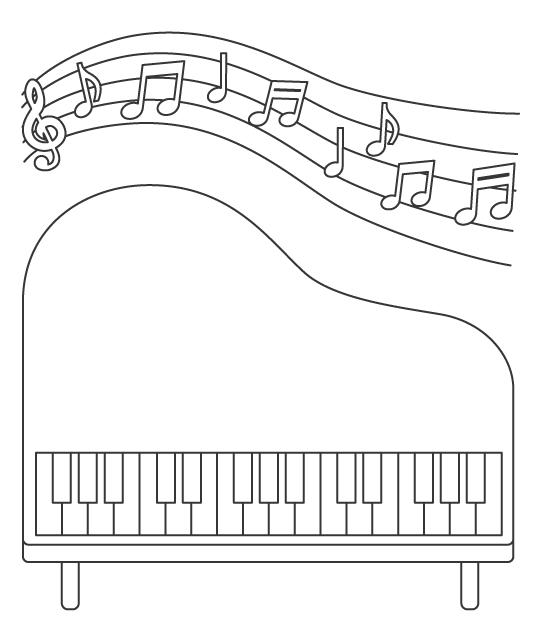 ピアノのぬりえ
