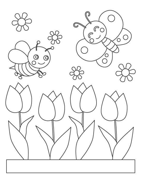 チューリップと蝶々や蜂のぬりえ