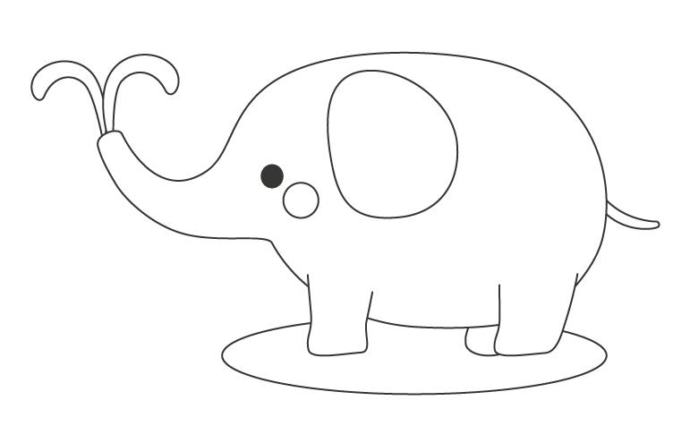 かわいいゾウ(象)のぬりえ