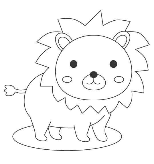 かわいいライオンのぬりえ