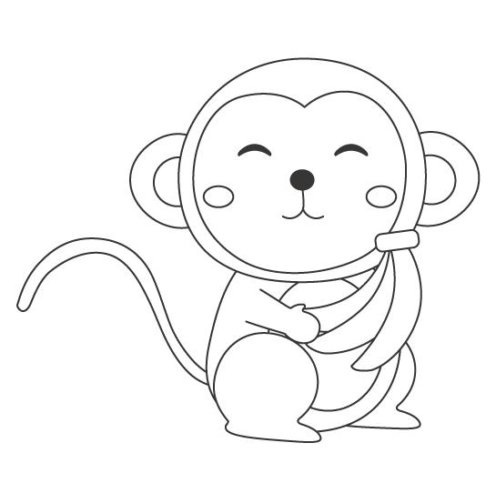 かわいいサル(猿)のぬりえ