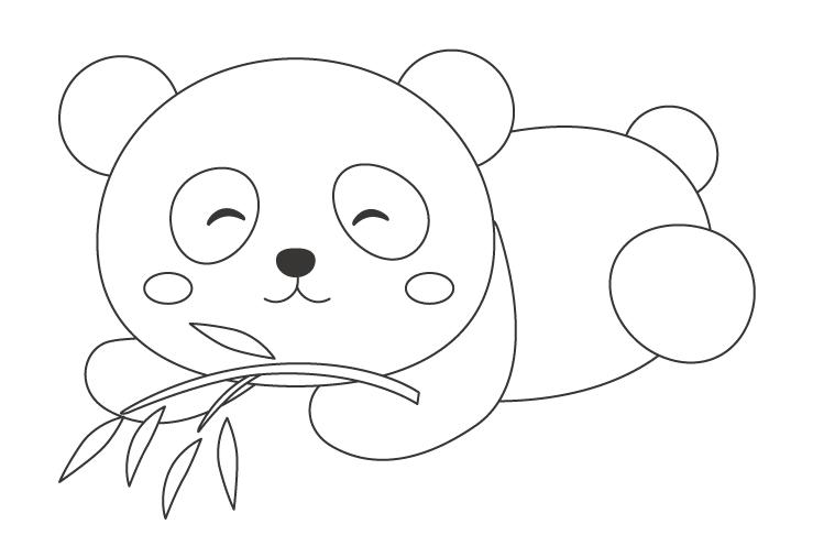かわいいパンダのぬりえ