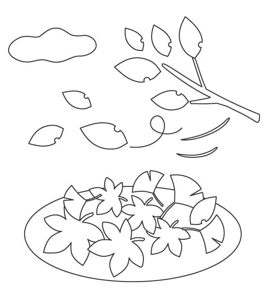 落ち葉や枯葉のぬりえ