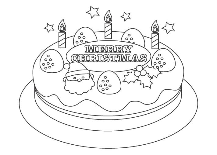 クリスマスケーキのぬりえ