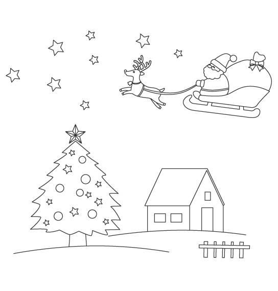 サンタクロースとトナカイとツリーのぬりえ