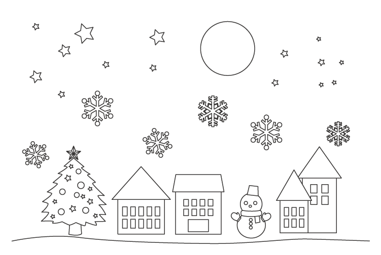 クリスマスツリーと星や雪の結晶のぬりえ