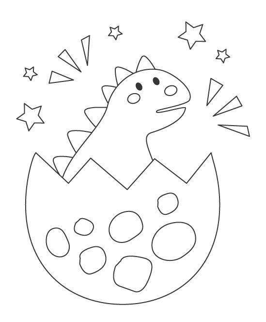 かわいい恐竜の赤ちゃんのぬりえ