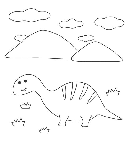 かわいい恐竜と山の風景のぬりえ