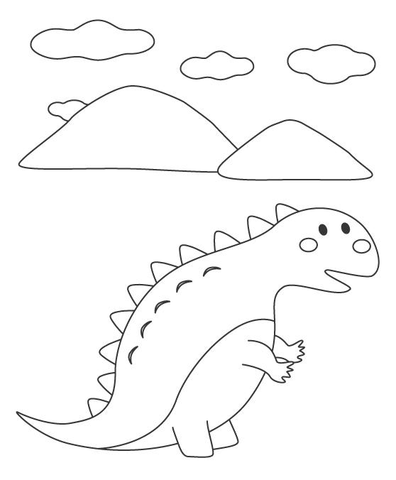 かわいい恐竜ぬりえ02