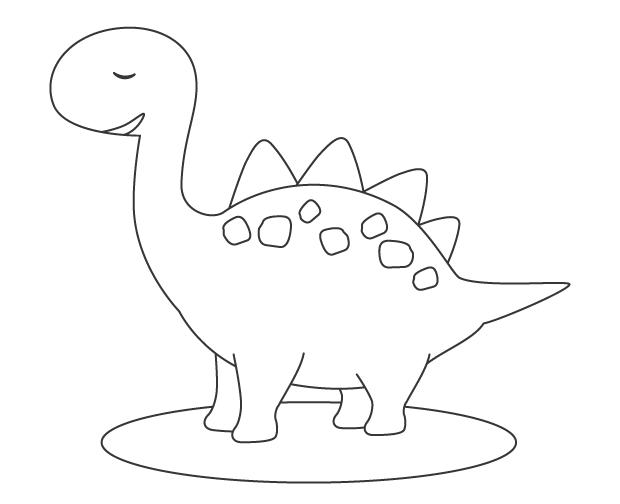 かわいい恐竜のぬりえ