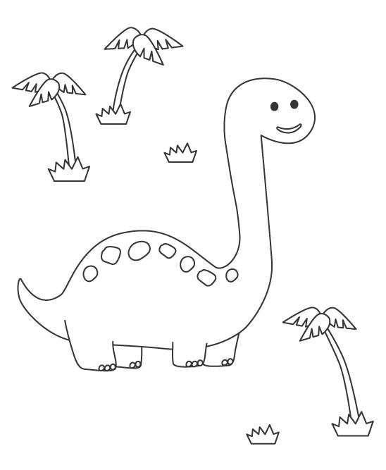 首が長いかわいい恐竜ぬりえ