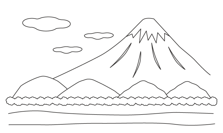 富士山のぬりえ