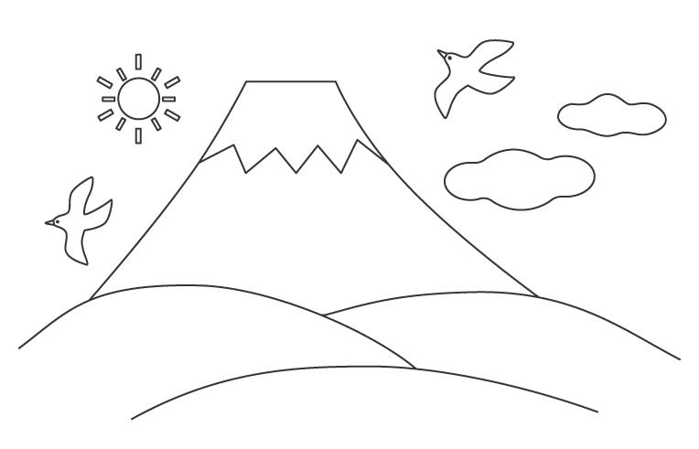 富士山と鳥のぬりえ