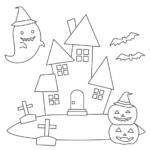 ハロウィンのかぼちゃのお化けやお城のぬりえ