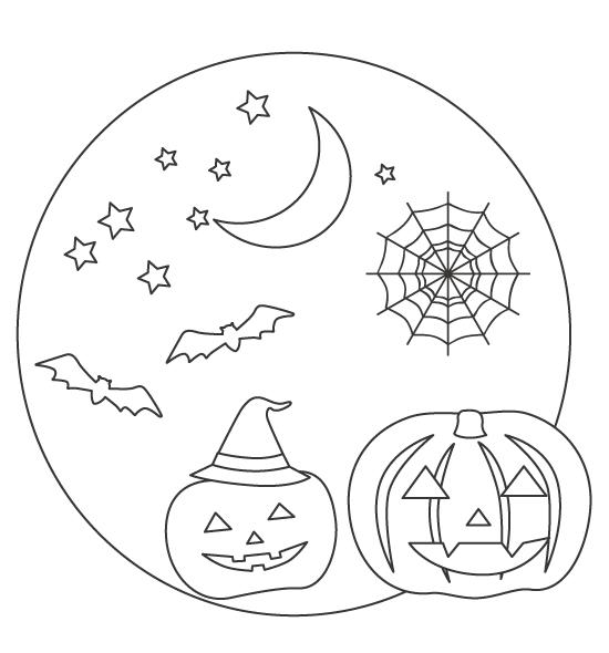 ハロウィン・かぼちゃのお化けやコウモリのぬりえ