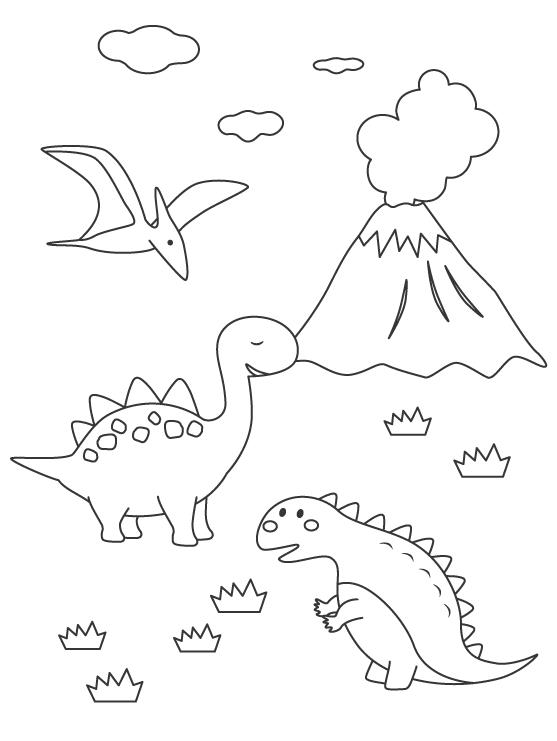 色々なかわいい恐竜のぬりえ