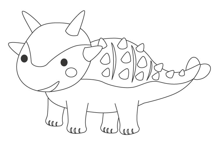 かわいいツノがある恐竜ぬりえ