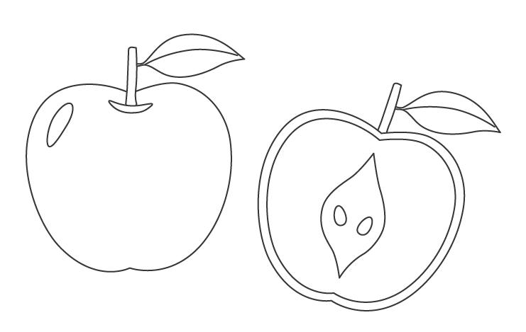 丸ごとと半分にカットしたりんご(林檎)のぬりえ