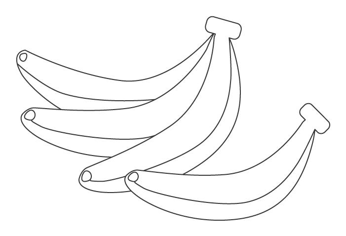果物・バナナのぬりえ